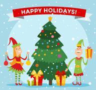 Santa Claus kids cartoon elf helpers vector illustration Stock Illustration