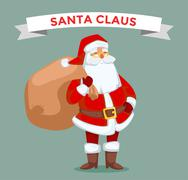 Santa Claus vector illustration. Cartoot old man with red hat and sack Stock Illustration
