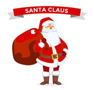 Santa Claus vector illustration. Cartoot old man with red hat and sack - stock illustration