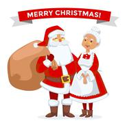Santa and Missis Claus cartoot family vector - stock illustration