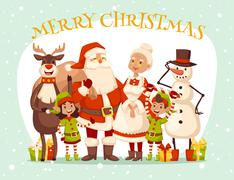 Stock Illustration of Santa Claus wife and kids cartoot family vector