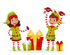 Santa Claus kids cartoon elf helpers vector illustration - stock illustration