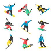Snowboarder jump in different pose on white background - stock illustration