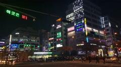 Suwon City Neon Lights in Suwon, South Korea Stock Footage