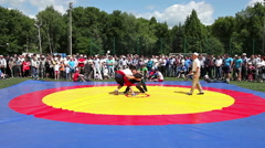 Tatar national fight Kuresh during the Sabantuy celebration in Samara, Russia Stock Footage