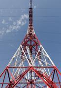 Reliance power line on sky background - stock photo