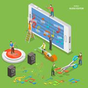 Stock Illustration of Mobile audio editor flat isometric vector concept.