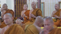 Thai monks praying,Surin,Thailand Stock Footage