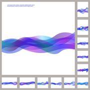 Blue purple business wave background set Stock Illustration