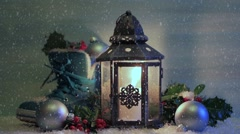 Christmas lantern with a shoe and Christmas decorations in the night. Stock Footage