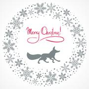 Christmas snow garland background - stock illustration