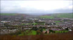 Valley Town on Overcast Day. Tilt Shift Timelapse Stock Footage