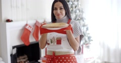 Smiling laughing young Christmas cook Stock Footage