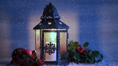 Christmas lantern with Holly leaves and berries. Stock Footage