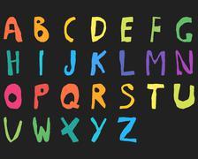 Hand drawn child English alphabet Color Bold - stock illustration