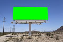 Green Chroma Key Desert Billboard - stock photo