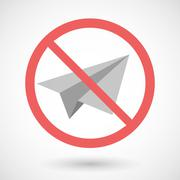 Stock Illustration of Forbidden vector signal with a paper plane