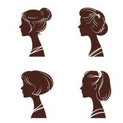 Four silhouettes of women's heads with beautiful stylized haircut - stock illustration