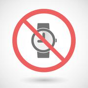 Forbidden vector signal with a wrist watch - stock illustration