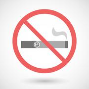 Forbidden vector signal with an electronic cigarette - stock illustration