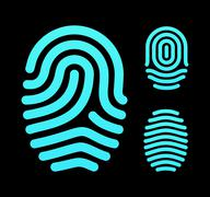 Fingerprint types, loop, whorl and arch Stock Illustration