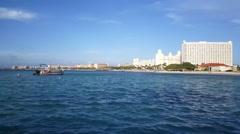 Hotels skyline at Palm Beach Aruba Stock Footage
