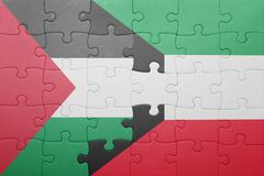 puzzle with the national flag of kuwait and palestine - stock photo