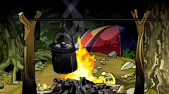 Cartoon campfire at night in the woods with a tent. Stock Footage
