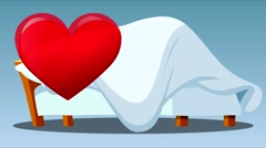 Cartoon on the bed under the blanket making love. Stock Footage