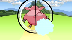 Cartoon shooting through the scope of a running pig. Stock Footage