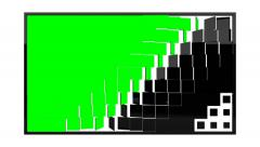 Black glossy square panels transform into green screen monitor Stock Footage