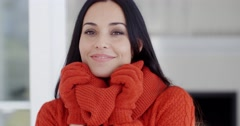 Serious young woman in winter fashion - stock footage