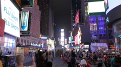 Night time gimbal shot walking down times square, ny  Stock Footage