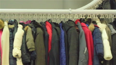 Motorized hanging clothes carousel Stock Footage