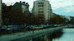Pan right Splaiul Independentei on November 23, 2015 in Bucharest, Romania. Stock Footage