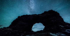 Dimmubergir, Iceland volcanic rocks milkyway and stars timelapse - stock footage