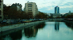 Traffic over Splaiul Independentei in Bucharest, Romania. Stock Footage