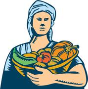 Lady Organic Farmer Produce Harvest Woodcut. Stock Illustration