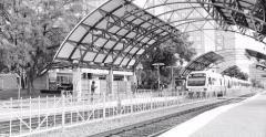Lovers Lane Station with DART train arriving Black and White Stock Footage