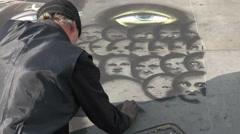 Street artist at work in trafalgar square, london Stock Footage