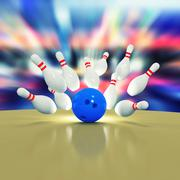Scattered skittles and bowling ball - stock illustration