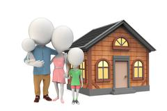 Family of little white persons nearthe house Stock Illustration