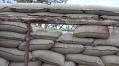 Loophole view, sand bag wall, trench. Old Battlefield, First World War site. Stock Footage