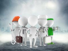 Five figures of man on grey and white - stock illustration