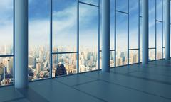 Office with glass wall and sunset - stock illustration