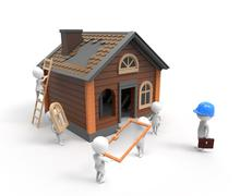 Builders construct the house - stock illustration