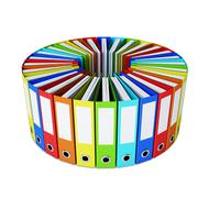 Multicolored folders forming a circle on white - stock illustration