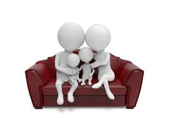 Family of little white persons sit on the sofa - stock illustration