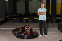 Young Man Driving Go-Kart Karting Race - stock photo