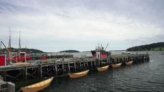 Large fishing trawler arrives at the docks in Lunenburg harbour. Stock Footage